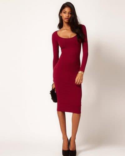 платье миди ниже колена с длинным рукавом