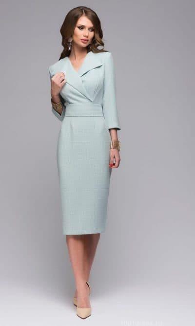 платье жакет миди с длинным рукавом