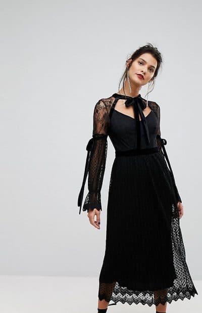 вечернее платье миди с длинным рукавом