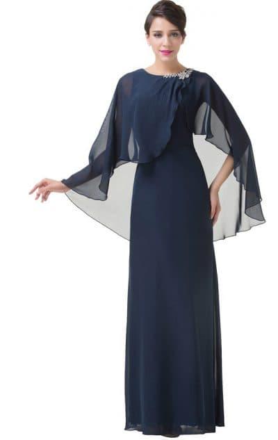вечернее платье миди с длинным рукавом с накидкой