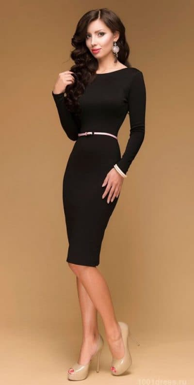 коктейльное платье миди с длинным рукавом