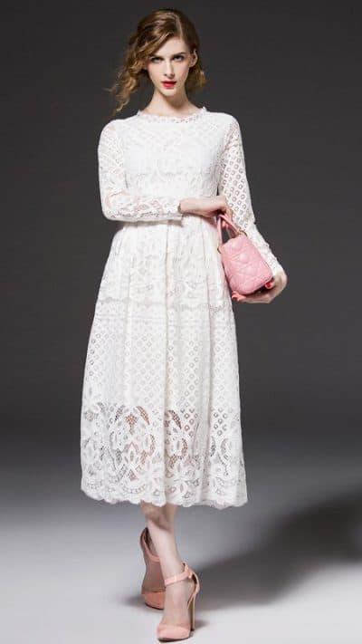 свадебное платье миди с длинным рукавом