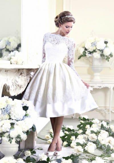 ретро свадебное платье миди с длинным рукавом