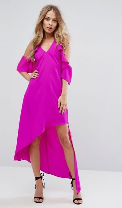 платье с вырезами на плечах асимметрия