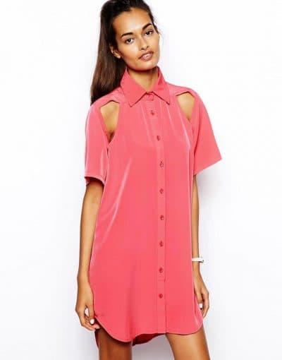рубашка-платье с английским воротником с вырезом на плечах