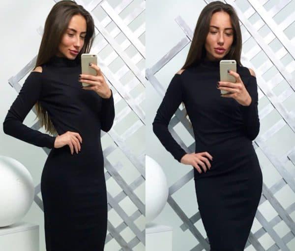 трикотажное платье-футляр с вырезом на плечах