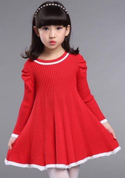 детские платья свитер с длинным рукавом