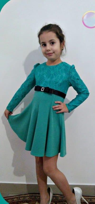 детское платье с завышенной талией с длинным рукавом