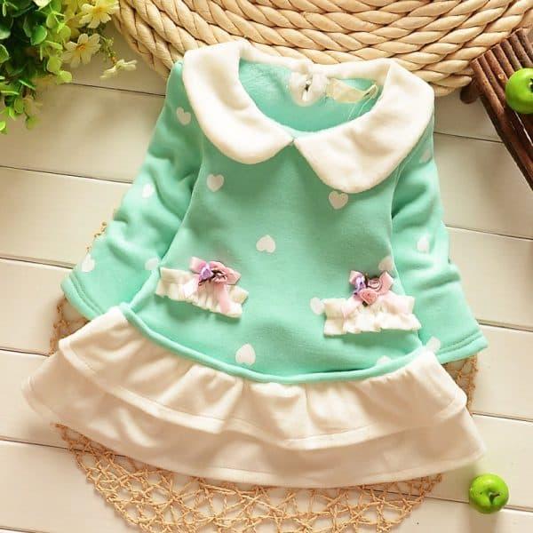 детское платье с длинным рукавом из флиса
