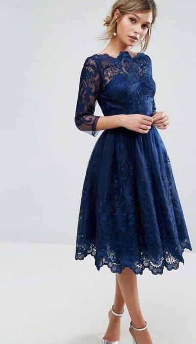 вечерние платья миди с рукавами