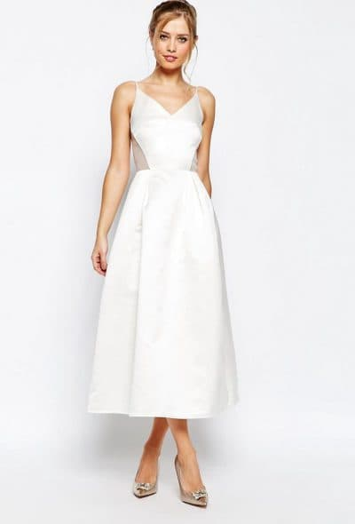 вечернее белое платье миди