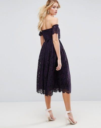 вечернее кружевное платье миди