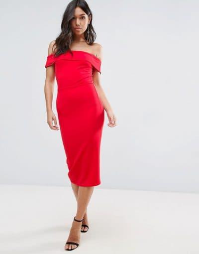 вечернее платье миди с открытыми плечами
