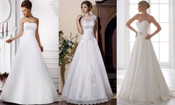 свадебное платье миди буквой А