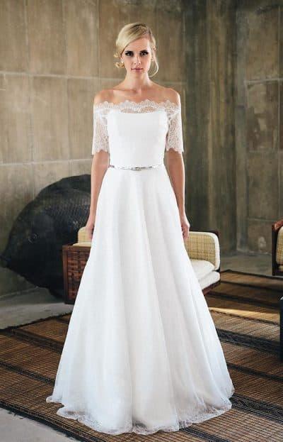 свадебное платье миди с оголёнными плечами