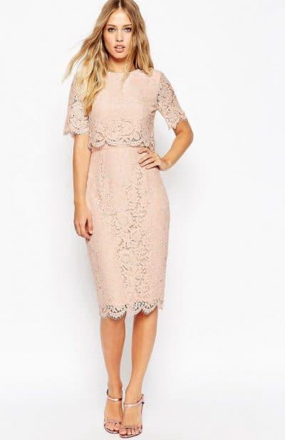 кружевное платье футляр миди