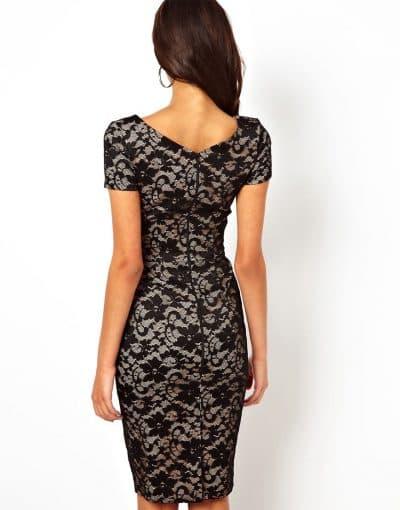 кружевное платье футляр с закрытой спиной
