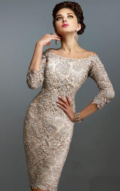 свадебное платье футляр с кружевом