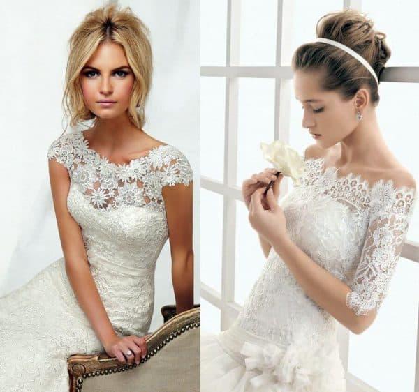 свадебное платье футляр с кружевом и ажурными рукавами