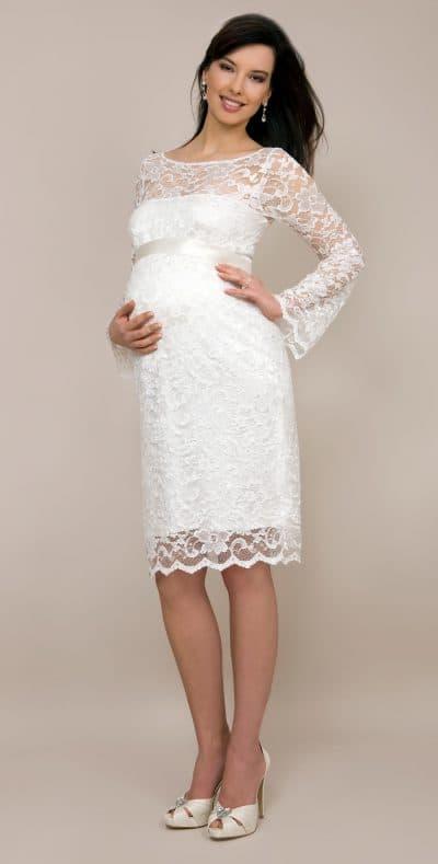 свадебное платье футляр с кружевом для беременной
