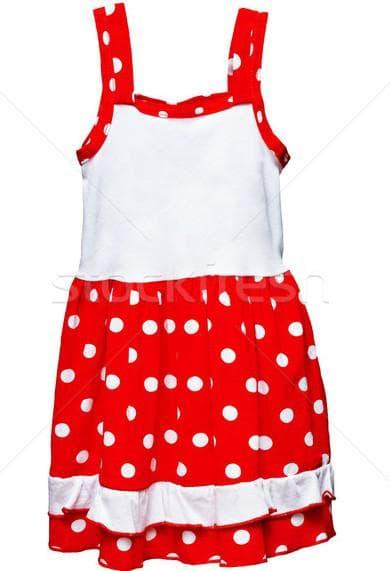 красное платье сарафан в белый горошек для девочки