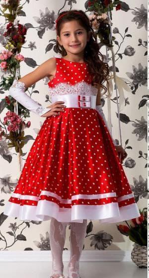 красное платье в белый горошек для девочки от Lindissima