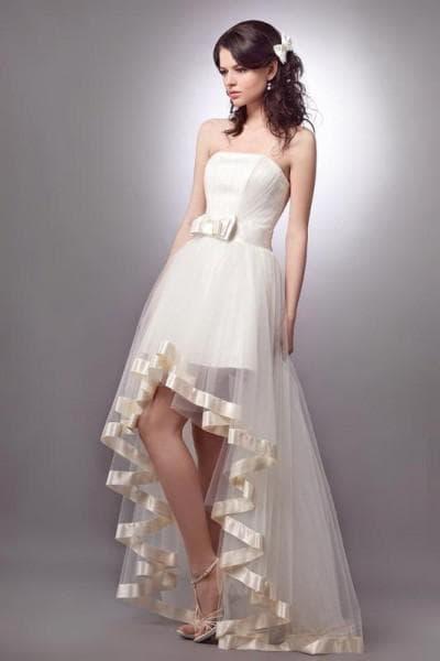 свадебное ассиметричное платье с прямой юбкой