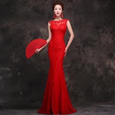 красное платье рыбий хвост от Vestidos