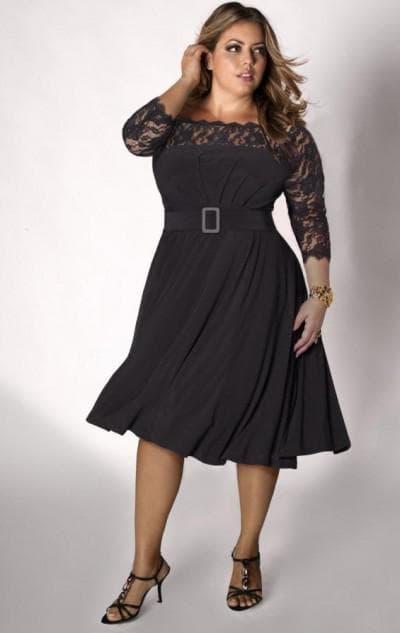 шифоновое платье с расклешенной юбкой для полных