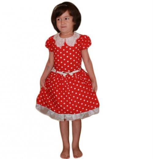 красное платье в белый горошек для девочки со шнуровкой по спине