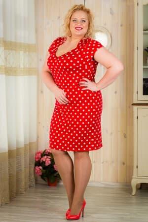 красное платье в белый горох большого размера