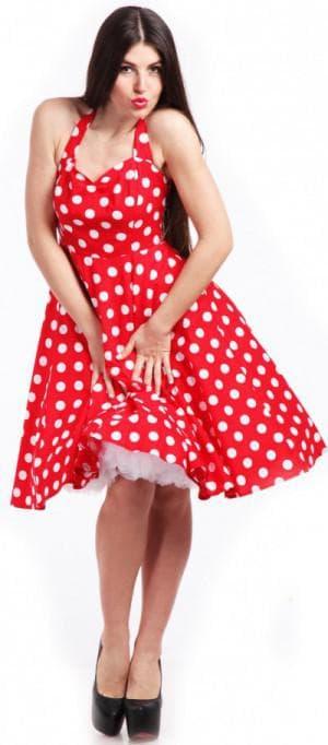 красное ретро платье с белым горохом