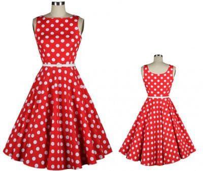 красное платье с белыми горошками от China Mainland