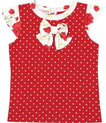 красная майка в белый горошек для девочки