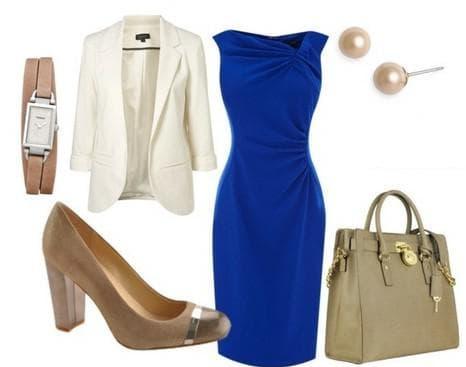 синее платье с серым