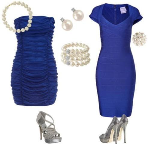 синее платье с серебристым цветом