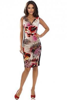 офисное платье с цветным принтом