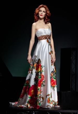 выпускное платье с цветным принтом