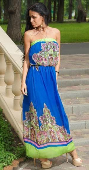 сарафан с открытыми плечами на резинке для дам