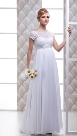 платье для венчания в стиле ампир для беременных