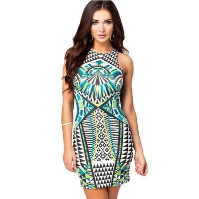 платье с цветным геометричным принтом