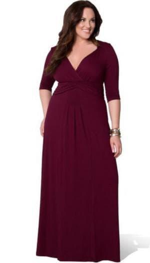 вечернее платье бордо для больших женщин