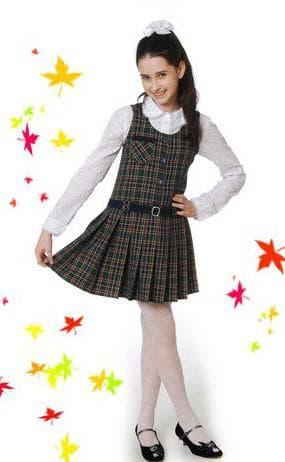 школьный сарафан с принтом клетка для девочки подростка