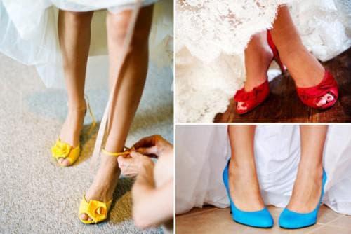 яркая обувь к белому платью