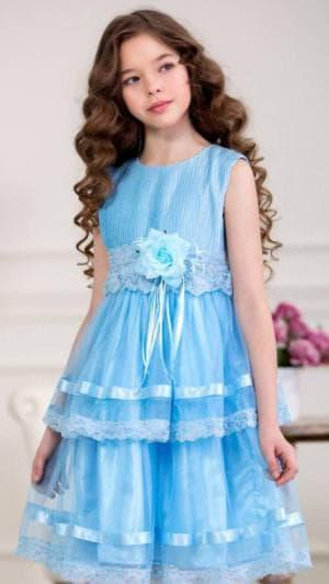 новогодние голубое платье для девочек 12 лет