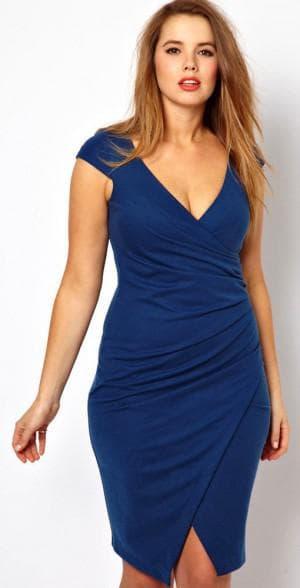платье с V образным вырезом для больших женщин