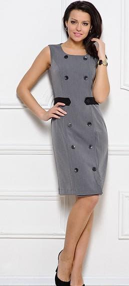 платье с двубортной застежкой на пуговицах спереди