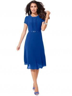 натуральное синее платье