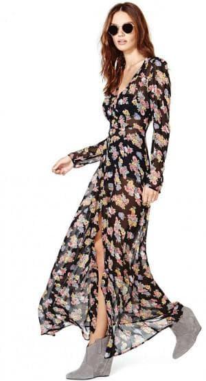 длинное платье на пуговицах спереди с V образным вырезом