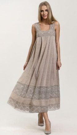 длинное платье с кружевами из льна